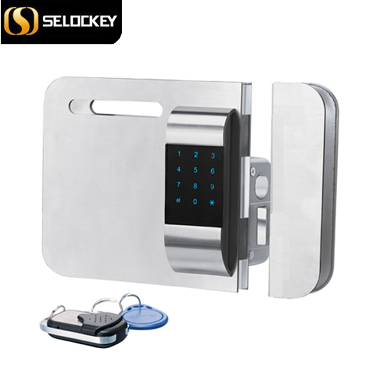 Hot sale!! Wireless glass door lock (with door side) with password and IC card to open (LY15CR2-11BM)